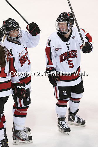 Tori Hickel (NU - 55), Kelly Wallace (NU - 5) - The Northeastern University Huskies defeated the Boston University Terriers 4-1 in the opening round of the 2013 Beanpot on Tuesday, February 5, 2013, at Matthews Arena in Boston, Massachusetts.