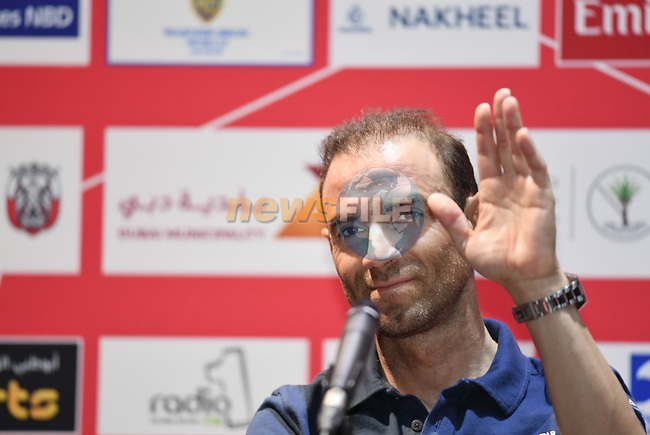 The 2019 UAE Tour, World Champion Alejandro Valverde (ESP) Movistar Team spoke to the media this afternoon in Louvre Abu Dhabi, United Arab Emirates. 23rd February 2019.<br />