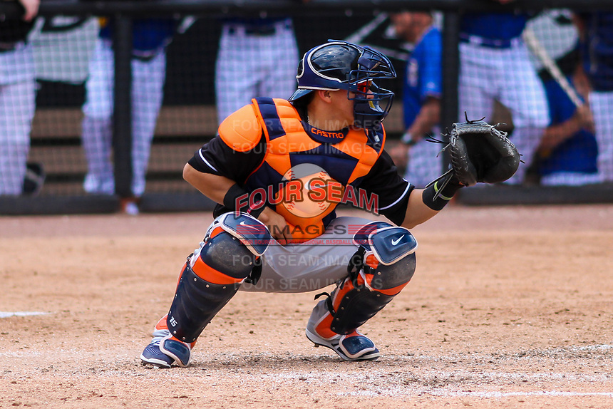 Quad Cities River Bandits catcher Gabriel Bracamonte (6) awaits a pitch between innings during a Midwest League game against the Wisconsin Timber Rattlers on June 27, 2017 at Fox Cities Stadium in Appleton, Wisconsin.  Quad Cities defeated Wisconsin 6-5. (Brad Krause/Four Seam Images)