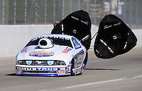 Nov 13, 2010; Pomona, CA, USA; NHRA pro stock driver Larry Morgan during qualifying for the Auto Club Finals at Auto Club Raceway at Pomona. Mandatory Credit: Mark J. Rebilas-