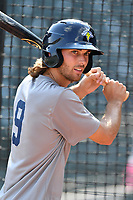Outfielder Gene Cone (9) of the Columbia Fireflies works out before a game against the Lexington Legends on Friday, April 21, 2017, at Spirit Communications Park in Columbia, South Carolina. Columbia won, 5-0. (Tom Priddy/Four Seam Images)