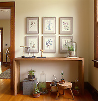 A wall of the dining room is decorated with a series of framed botanical prints and a collection of houseplants under glass cloches