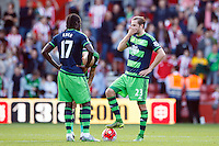 Gylfi Sigurdsson and Eder looks dejected during the Barclays Premier League match between Southampton v Swansea City played at St Mary's Stadium, Southampton