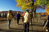photographers, Reading, VT, Vermont, Photographers line up to take pictures of Jenne Farm in the fall in Reading.