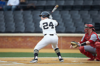 Chris Lanzilli (24) of the Wake Forest Demon Deacons at bat against the Sacred Heart Pioneers at David F. Couch Ballpark on February 15, 2019 in  Winston-Salem, North Carolina.  The Demon Deacons defeated the Pioneers 14-1. (Brian Westerholt/Four Seam Images)