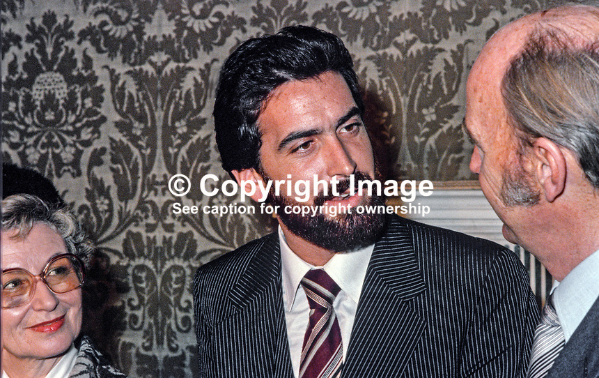 Very Rev David Rosen, Chief Rabbi of Ireland, meets Irish President Dr Patrick Hillery, Dublin, 198003000419..Copyright Image from Victor Patterson, 54 Dorchester Park, Belfast, UK, BT9 6RJ..Tel: +44 28 9066 1296.Mob: +44 7802 353836.Voicemail +44 20 8816 7153.Skype: victorpattersonbelfast.Email: victorpatterson@mac.com.Email: victorpatterson@ireland.com (back-up)..IMPORTANT: If you wish to use this image or any other of my images please go to www.victorpatterson.com and click on the Terms & Conditions. Then contact me by email or phone with the reference number(s) of the image(s) concerned.