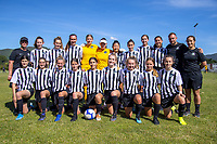 The Northern team pose for a group photo before the 2019 National Age Group Tournament Under-16 Girls football match between Auckland and Northern at Memorial Park in Petone, Wellington, New Zealand on Wednesday, 11 December 2019. Photo: Dave Lintott / lintottphoto.co.nz