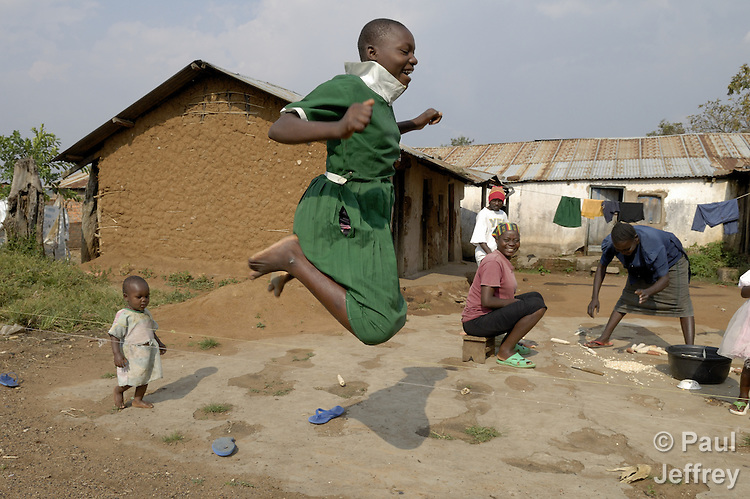 A girl skips rope in the remote Kenyan village of Kopanga, where the town's clinic is operated by the Methodist Church of Kenya.