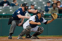 Catcher Kyle Anson #35 of the Trenton Thunder and home plate umpire Jason Arends at Waterfront Park May 12, 2009 in Trenton, New Jersey. (Photo by Brian Westerholt / Four Seam Images)