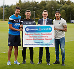 Rangers and Unicef have donated money to the Mexican Earthquake Appeal.  Eduardo Herrera, Pedro Caixinha, Connal Cochrane from Rangers Charity Foundation and Carlos Peña