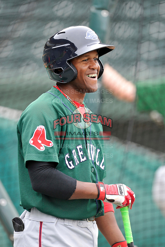 Luis Alejandro Basabe (5) of the Greenville Drive in a team workout on Wednesday, April 6, 2016, at Fluor Field at the West End in Greenville, South Carolina. (Tom Priddy/Four Seam Images)