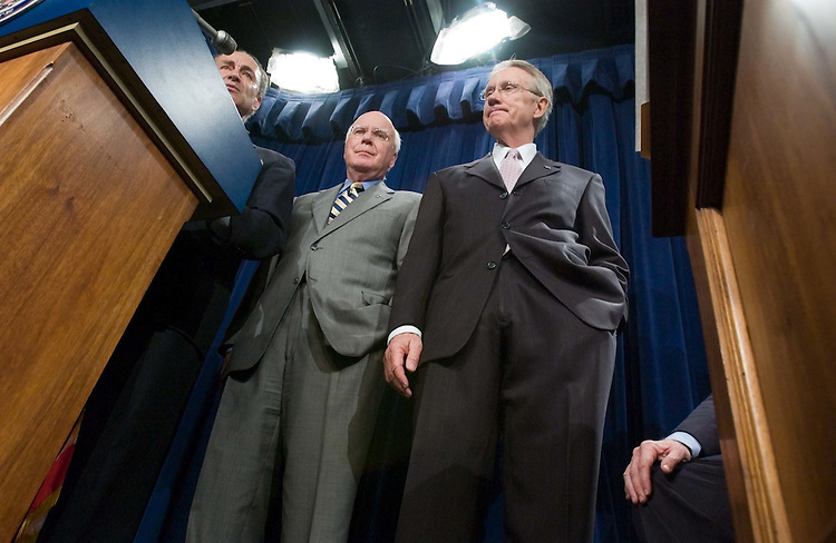 06/22/05.SENATE DEMOCRATS URGE BUSH TO CONSULT THEM ON NEXT SUPREME COURT NOMINEE--Sen. Charles E. Schumer, D-N.Y., Sen. Patrick J. Leahy, D-Vt., and Senate Minority Leader Harry Reid, D-Nev., during a news conference with Sen. Edward M. Kennedy, D-Mass., urging President Bush to consult them regarding who he should nominate should there be a vacancy on the Supreme Court. The ailing Chief Justice William H. Rehnquist is widely expected to retire at the end of the term. .CONGRESSIONAL QUARTERLY PHOTO BY SCOTT J. FERRELL