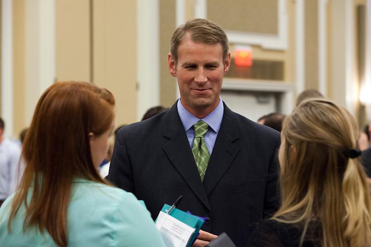 Patrick Poiter of REA talks to students at Meet the Accountants Night at Baker Ballroom on September 12, 2013.