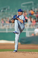 South Bend Cubs starting pitcher Jesus Camargo (25) in action against the Lansing Lugnuts at Cooley Law School Stadium on June 15, 2018 in Lansing, Michigan. The Lugnuts defeated the Cubs 6-4.  (Brian Westerholt/Four Seam Images)