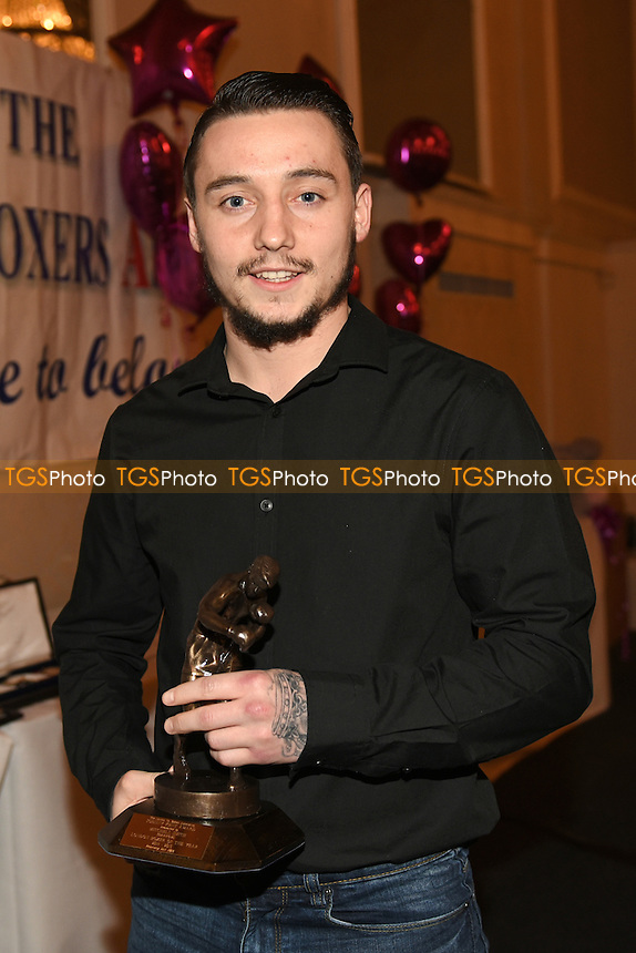 Mitchell Smith with the Best Prospect Award during the London Ex-Boxers Awards 2016 at the Grand Connaught Rooms