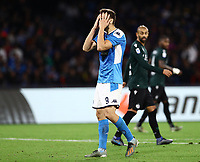 1st December 2019; Stadio San Paolo, Naples, Campania, Italy; Serie A Football, Napoli versus Bologna; Fernando Llorente of Napoli with a good shooting chance but narrowley missed the goal late in the game - Editorial Use