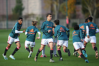 Ajax U19's warm up ahead of kick-off during Chelsea Under-19 vs AFC Ajax Under-19, UEFA Youth League Football at the Cobham Training Ground on 5th November 2019