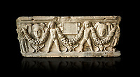 Roman relief sculpted garland sarcophagus with cherubs, 3rd century AD. Adana Archaeology Museum, Turkey. Against a black background