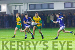 Conor Herlihy Gneeveguillatakes on David Mangan and Eoin Clifford Laune Rangers in the McElligott cup final in Currans on Friday night