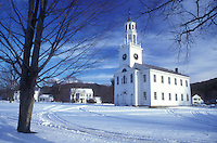 AJ5946, church, chapel, winter, snow, The Baptist Church of East Poultney on a beautiful sunny day in winter in Rutland County in the state of Vermont.