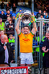 South Kerry Captain Bryan Sheehan lifts the Bishop Moynihan cup after his side won the Kerry County Senior Football Final at Fitzgerald Stadium on Sunday.