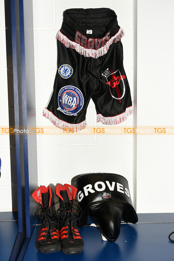 George Groves shorts, boots and protector are seen in his dressing room ahead of his fight with David Brophy at the O2 Arena on 9th April 2016