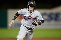 Scranton/Wilkes-Barre RailRiders right fielder Clint Frazier (77) runs the bases during a game against the Syracuse Chiefs on June 14, 2018 at NBT Bank Stadium in Syracuse, New York.  Scranton/Wilkes-Barre defeated Syracuse 9-5.  (Mike Janes/Four Seam Images)