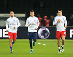 England's Danny Drinkwater, Dele Alli and Ross Barkley warm up during the International Friendly match at Olympiastadion.  Photo credit should read: David Klein/Sportimage