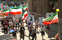 may 19, 2003, Montreal, Quebec, Canada.<br /> <br /> Quebecers walk in Old Montreal, on the new Patriot Day, which is the monday before May 25, as adopted bu the Quebec National Assembly,this year  May 19 2003<br /> <br /> <br /> <br /> Mandatory Credit: Photo by Pierre Roussel- Images Distribution. (©) Copyright 2003 by Pierre Roussel