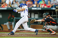 Florida Gators outfielder Ryan Larson (66) swings the bat against the Miami Hurricanes in the NCAA College World Series on June 13, 2015 at TD Ameritrade Park in Omaha, Nebraska. Florida defeated Miami 15-3. (Andrew Woolley/Four Seam Images)