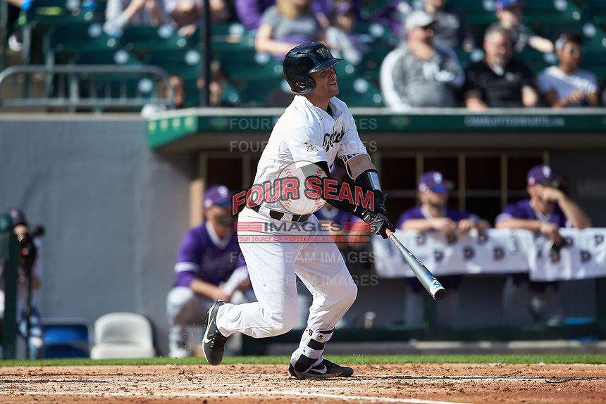 Brendan Tinsman (9) of the Wake Forest Demon Deacons follows through on his swing against the Furman Paladins at BB&T BallPark on March 2, 2019 in Charlotte, North Carolina. The Demon Deacons defeated the Paladins 13-7. (Brian Westerholt/Four Seam Images)