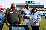 CHAPEL HILL, NC - NOVEMBER 18: UNC's Cayson Collins was honored as part of Senior Day pregame activities. The University of North Carolina Tar Heels hosted the Western Carolina University Catamounts on November 18, 2017 at Kenan Memorial Stadium in Chapel Hill, NC in a Division I College Football game. UNC won the game 65-10.