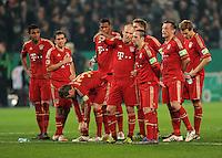 FUSSBALL   DFB POKAL   SAISON 2011/2012   HALBFINALE   21.03.2012 Borussia Moenchengladbach - FC Bayern Muenchen  Arjen Robben (Mitte li, FC Bayern Muenchen) und Franck Ribery (Mitte, re, FC Bayern Muenchen)
