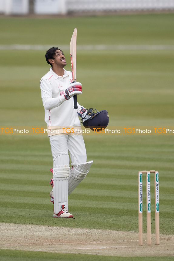 Haseeb Hameed of Lancashire CCC acknowledges his century during Middlesex CCC vs Lancashire CCC, Specsavers County Championship Division 2 Cricket at Lord's Cricket Ground on 12th April 2019