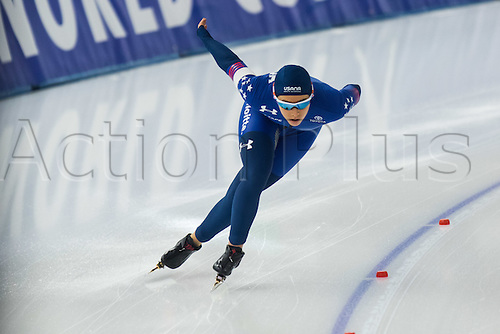 January 29th 2017, Sportforum, Berlin, Germany; ISU Speed Skating World Cup;  ISU Speed Skating World Cup 1000m Division A; Paige Schwartzburg (USA)
