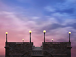 Rooftop Lights Under Twilight Skies, Classical Architecture