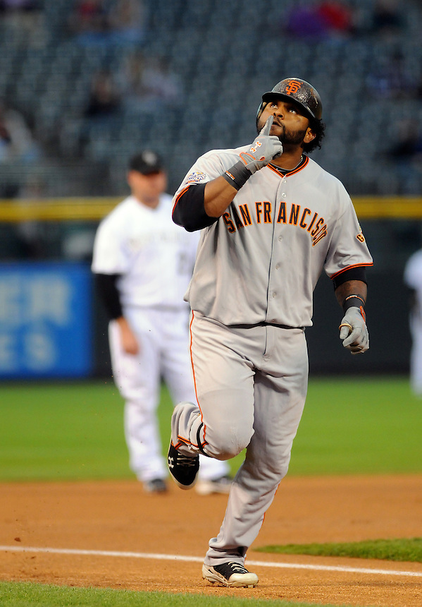 15 SEPTEMBER 2011: San Francisco Giants third baseman Pablo Sandoval (48) celebrates hitting a two run homerun on his way to hitting for the cycle during a regular season game between the San Francisco Giants and the Colorado Rockies at Coors Field in Denver, Colorado. The Giants beat the Rockies 8-5. *****For Editorial Use Only*****