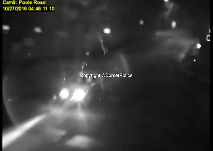BNPS.co.uk (01202 558833)<br /> Pic: DorsetPolice/BNPS<br /> <br /> Jacek Szafranski was somersaulted 10ft into the air..<br /> <br /> This is the shocking moment a cyclist was thrown through the air like a rag doll after a teenage driver crashed into him before speeding off.<br /> <br /> CCTV footage captured the horrifying moment victim Jacek Szafranski somersaulted 10ft before landing in the road.<br /> <br /> The video then shows him lying motionless on the ground as callous Benjamin George, 19, drives away without stopping to check on his 34-year-old victim.<br /> <br /> A court heard the horrific collision happened at the end of a five hour course of wreckless driving by George in Bournemouth, Dorset.<br /> <br /> He drove the wrong way down a dual carriageway in a Vauxhall Tigra, jumped through red lights, dangerously overtook multiple cars, almost lost control on a roundabout and nearly struck a pedestrian as he ran a red light in the space of two and a half hours.