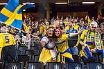 Solna 2015-10-12 Fotboll EM-kval , Sverige - Moldavien :  <br /> Sveriges supportrar med en flagga inf&ouml;r matchen mellan Sverige och Moldavien <br /> (Photo: Kenta J&ouml;nsson) Keywords:  Sweden Sverige Solna Stockholm Friends Arena EM Kval EM-kval UEFA Euro European 2016 Qualifying Group Grupp G Moldavien Moldova supporter fans publik supporters glad gl&auml;dje lycka leende ler le