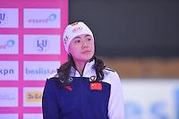 SCHAATSEN: BERLIJN: Sportforum, 07-12-2013, Essent ISU World Cup, podium 500 Ladies Division A, Beixing Wang (CHN), ©foto Martin de Jong