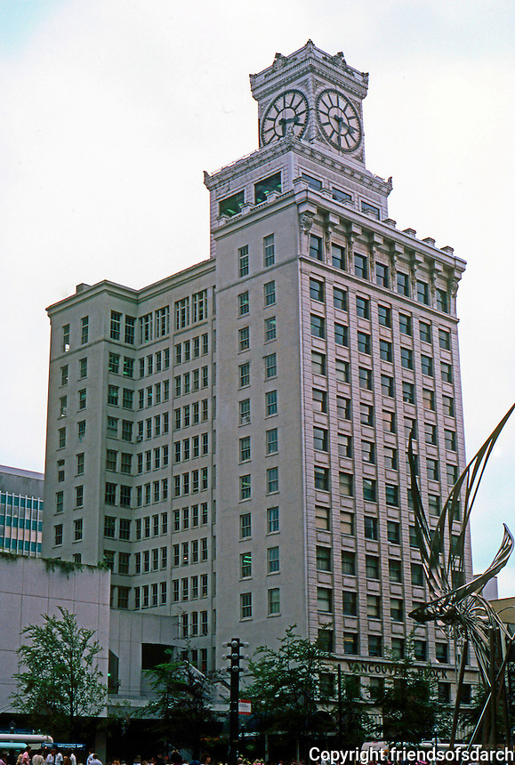 """Vancouver: Vancouver Block. Park & Fee 1912. A """"somewhat homely"""" 14 story steel frame building, about 250 ft. tall. 736 Granville St. Photo '86."""