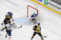 June 6, 2019: St. Louis Blues goaltender Jordan Binnington (50) faces Boston Bruins center David Krejci (46) with the puck during game 5 of the NHL Stanley Cup Finals between the St Louis Blues and the Boston Bruins held at TD Garden, in Boston, Mass. The Blues defeat the Bruins 2-1 in regulation time. Eric Canha/CSM