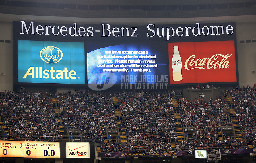 Feb 3, 2013; New Orleans, LA, USA; The jumbotron displays a message about the partial power outage during the third quarter in Super Bowl XLVII between the San Francisco 49ers and the Baltimore Ravens at the Mercedes-Benz Superdome. Mandatory Credit: Mark J. Rebilas-