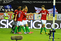 Tuesday, 7 May 2013<br /> <br /> Pictured: Goal celebrations <br /> <br /> Re: Barclays Premier League Wigan Athletic v Swansea City FC  at the DW Stadium, Wigan