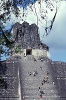 Tourists climbing Temple II, the Temple of the Maskas, at the Mayan ruins of Tikal, Guatemala