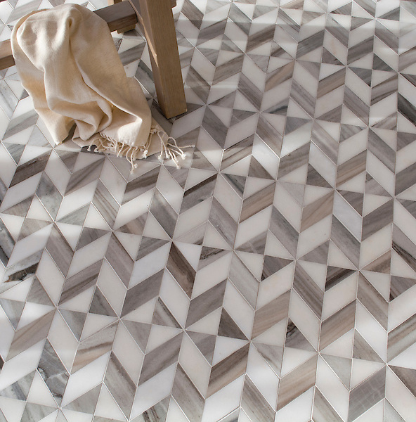 Lancaster Medium, a hand-cut stone mosaic, shown in honed Horizon Dark and honed Afyon White, is part of The Studio Line of Ready to Ship mosaics.