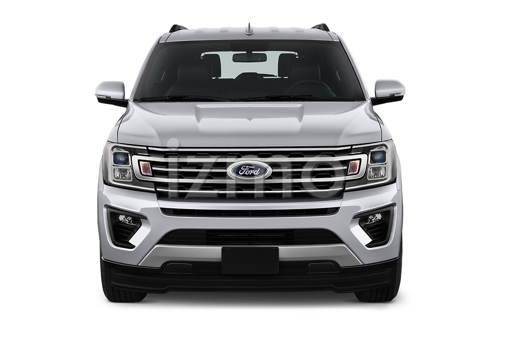 Car photography straight front view of a 2018 Ford Expedition XLT 5 Door SUV Front View