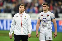 Dylan Hartley and Owen Farrell of England look dejected after the match. Natwest 6 Nations match between France and England on March 10, 2018 at the Stade de France in Paris, France. Photo by: Patrick Khachfe / Onside Images