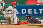 11 September 2016: Washington Nationals outfielder and Baseball America top prospect Trea Turner steals second as Philadelphia Phillies shortstop Freddy Galvis awaits the throw in the 8th at Nationals Park in Washington, DC. The Nationals edged out the Phillies 3-2 to take the rubber match of their 3-game series. Mandatory Credit: Ed Wolfstein Photo *** RAW (NEF) Image File Available ***