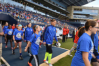 Kansas City, Kansas - Saturday April 16, 2016: FC Kansas City goalkeeper Nicole Barnhart (18) walks onto the pitch before the game against Western New York Flash at Children's Mercy Park. Western New York won 1-0.